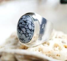 Silberring 54,5 Schneeflockenobsidian Handarbeit Modern Silber Ring Schlicht
