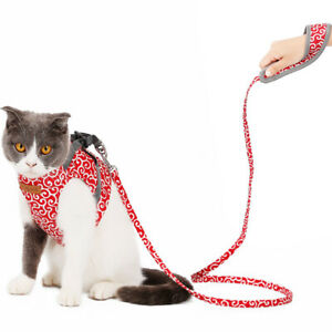 NEW UK Small Medium Cat Dog Harness Soft Reflective Padded Mesh Vest Lead Leash
