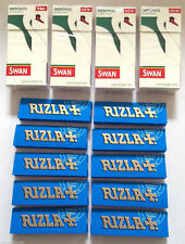 4 x SWAN MENTHOL EXTRA SLIM Filter Tips 10 x RIZLA BLUE Cigarette ROLLING PAPERS