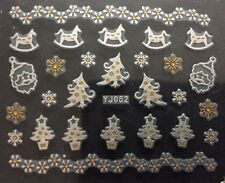 Accessoire ongles : nail art , Stickers noël : Sapin , cheval bois blanc et doré