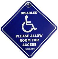 Disabled Please Allow Room For Access Suction Safety Car Van Window Badge Sign