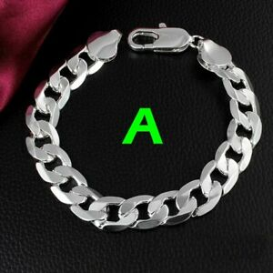 Mens Curb Chain Bracelet Sterling Silver 925 Chunky + Free Gift Bag ***