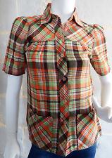 Chemise Vintage 70's à carreaux tartan Oranges en Coton Poches plaquées T.XS à S