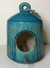 """8"""" Teal Blue Ceramic Bird House w/ Perch & Hanger Chain *Used*"""