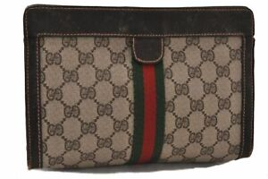 Authentic GUCCI Web Sherry Line Clutch Bag GG PVC Leather Brown Beige C4728