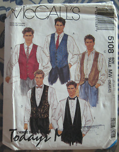 Vintage 90s McCall's Sewing Pattern #5108 Mens Vests, Tie & Bow Size M-L UNCUT