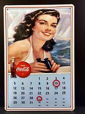 COCA COLA Calendar Vintage Metal Wall Sign 3D Embossed ~COKE