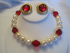 Estate Faux Pearl and Red Bead Necklace, Matching Earrings, Signed Maeve Carr NY