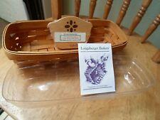 Longaberger Cracker Basket 1993 with Clear Liner and Cracker Basket Divider Euc