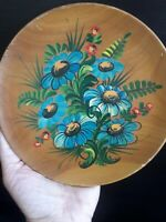 Vintage Hand Painted Wood Plate Original Artwork Flowers Signed Endort Wall Hang