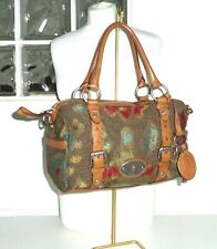 FOSSIL - Brown Leather/Multi Colour Aztec Woven Tapestry Tote Handbag Carpet Bag
