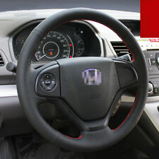 For Honda CRV Interior Steering Wheel Cover Black Hole Leather Hand Sewing