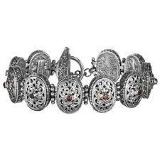 Gerochristo 6291N ~ Sterling Silver & Zircon Byzantine Filigree Link Bracelet