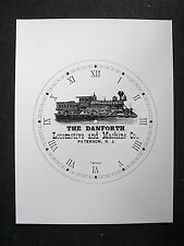 "(010) Clock Face Railroad Danforth Paterson, N.J. Locomotive Train Ad 6.5"" Dial"