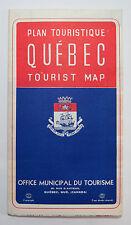 Vintage Quebec Tourist Map, Office Municipal Du Tourisme, Quebec Canada 1964
