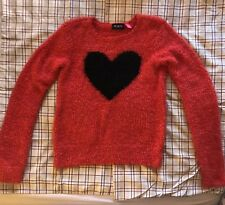 The Children's Place Red Super Soft Sweater With Black Heart Print. Size XL (14)