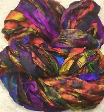 """Sari silk ribbon 1"""" wide 5 yds hand dyed Trim quilting beading fall brights"""
