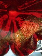 1960's Murano  Ruby Red Gold Aventurine Glass Bowl