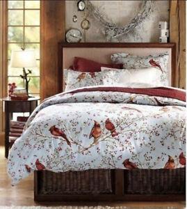 Pottery Barn Duvet Cover Cardinals Winter Berry Queen Size 100% Cotton