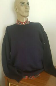 LOGAN YACHTING Navy Blue Heavy Weight WOOL Drop Sleeve Pullover size XL