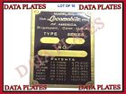 10x Patent And Data Plate Acid Etched Brass For Locomobile 1900 - 1912