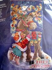 Bucilla Holiday Christmas Needlepoint Stocking Kit,MERRY CHRISMOOSE,Gillum,60760