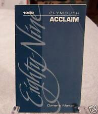 *Nos* 1989 Plymouth Acclaim Owners Manual 89