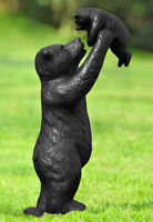 """16""""H Aluminum Whimsical Rustic Forest Black Momma Bear Lifting Her Cub Statue"""