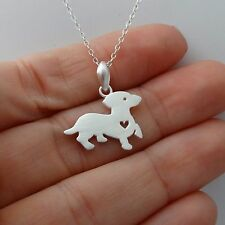 Dachshund Necklace - 925 Sterling Silver - Dachshund Charm Puppy Dog NEW Love