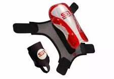 Last One S1 Sports Shin Guard Red And White W/ Black Sleeve L Soccer