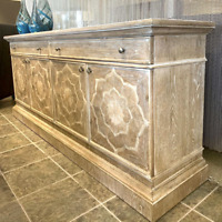 "New 80"" Rustic Natural Wood Sideboard Buffet Credenza Cabinet Inlay Dahlia Motif"