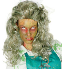 Zombie Wig Witch Ladies Halloween Fancy Dress Costume Hair Green Grey Long NEW