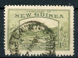 New Guinea KGVI 1939 Airmail 1s pale blue-green SG221 used