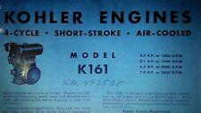 Kohler K161 Engine Owner, Parts & Service (4 Manuals) 186pg Lawn Garden Tractor