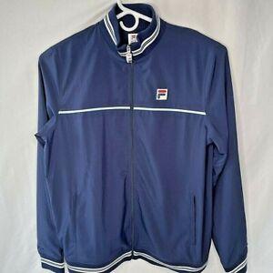 FILA SMU Mens L/XL Activewear Jacket Blue Stripe Full Zip Pockets Mesh Lined New