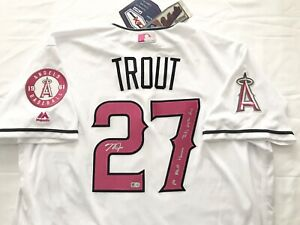 ANGELS MICHAEL MIKE TROUT signed INSCRIBED MOTHERS DAY JERSEY MLB AUTHENTICATED