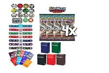 Pokemon, Sun & Moon Guardians Rising Booster pack X 4 Free Deck Box Random Bonus
