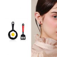 Girls Cute Mini Asymmetric Enamel Fried Egg Ear Studs Earrings Funny Jewelry New
