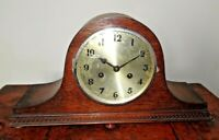 Antique 1920's Art Deco Oak Napoleons Hat Mantel Clock with Chime (Key Pendulum)