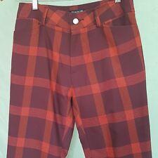 Vtg Mens Italian Trousers Pants 30 x 31 Plaid Mod Straight Leg Cotton Blend UK48