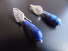 Echte Hakenverschluss für Damen-Ohrschmuck mit Lapis Lazuli-Hauptstein