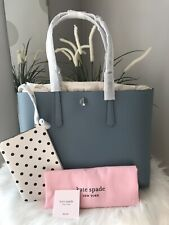 New Kate Spade molly Cabana Dot Pop Large Blue  Swordfish Laptop Tote +wristlet