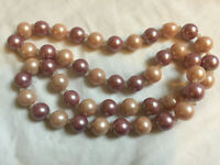 "VINTAGE 34"" Long Two Pinks Large Simulated Pearl Statement Necklace #8"