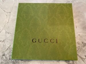 """GUCCI Green Holiday Limited Empty Storage Gift BOX w Tissue 9 3/4"""" Square MINT"""