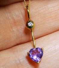 9CT YELLOW GOLD AMETHYST  & SIMULATED DIAMOND HEART  PENDANT