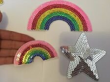 3 sequin patches star rainbow patch applique iron on sew motif badge hot fix UK
