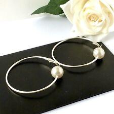 Faux Pearl  Large Hoop Earrings Uk Seller