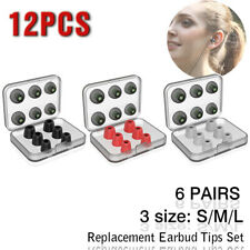 12pcs Memory Foam tips Noise Cancellation in-ear Earbud Replacement Silicone Tip