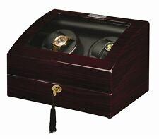 Diplomat Automatic Gothica Ebony Wood Quad Watch Winder Black Leather Interior
