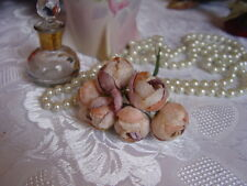 VELVET MILLINERY FLOWERS - APRICOT PINK & MAUVE  DOG ROSES
